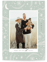 This is a green petite holiday card by Elly called Cosmic with standard printing on smooth signature in petite.