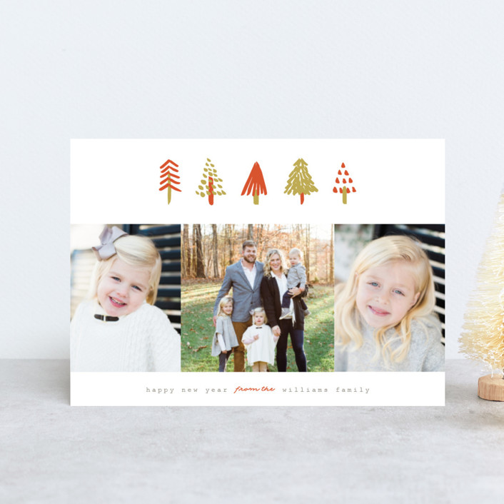 """""""Tiny Trees"""" - Modern Holiday Petite Cards in Pumpkin by Pistols."""