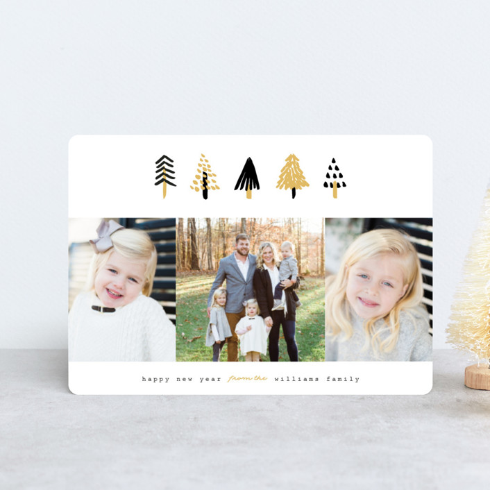 """Tiny Trees"" - Modern Holiday Petite Cards in Midnight by Pistols."