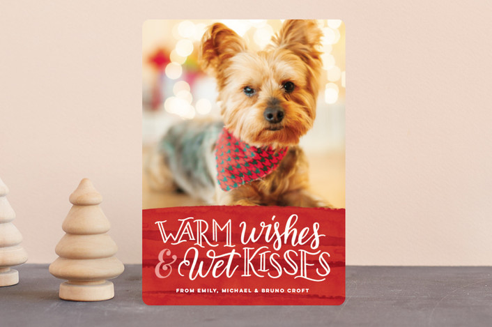 """Warm Wishes Wet Kisses"" - Funny Holiday Petite Cards in Cranberry by Pink House Press."