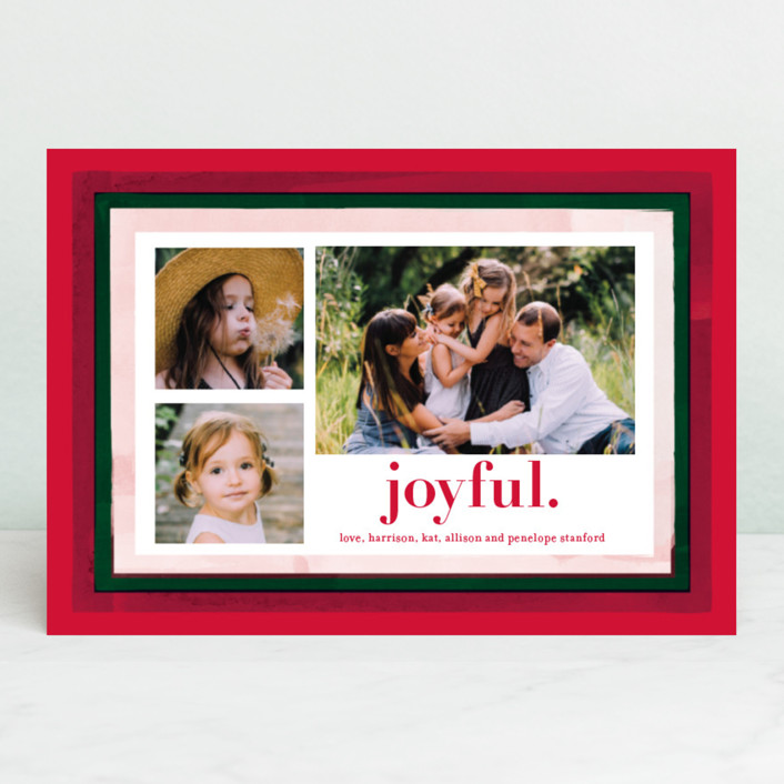 """Holiday Watercolor Frames"" - Modern Holiday Petite Cards in Pomegranate by Baumbirdy."