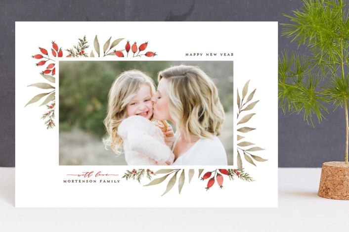 """""""Elegant Floral Frame"""" - Holiday Petite Cards in Holly Berry by Wildfield Paper Co.."""