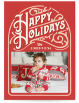 This is a red petite holiday card by GeekInk Design called Holiday Vintage with standard printing on smooth signature in petite.