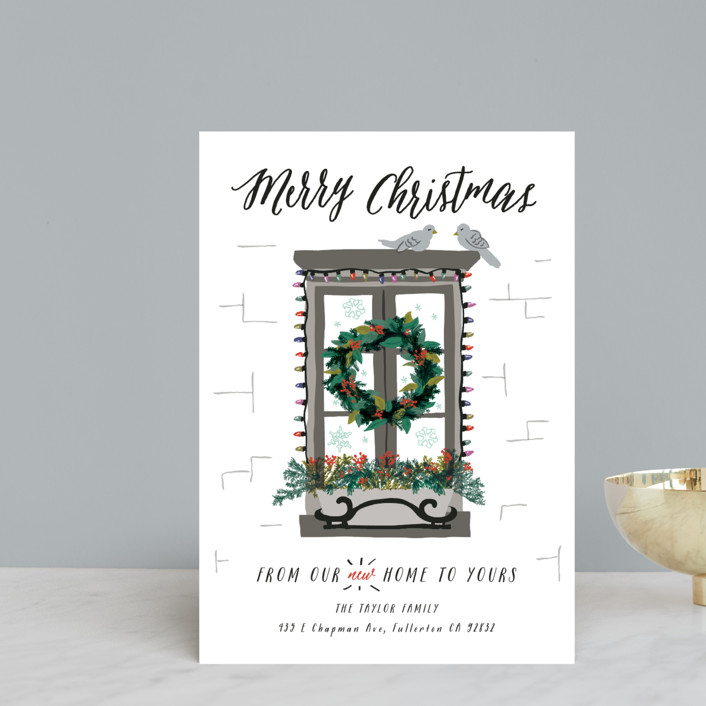 """""""Christmas Window"""" - Holiday Petite Cards in Stainless Steel by Shiny Penny Studio."""