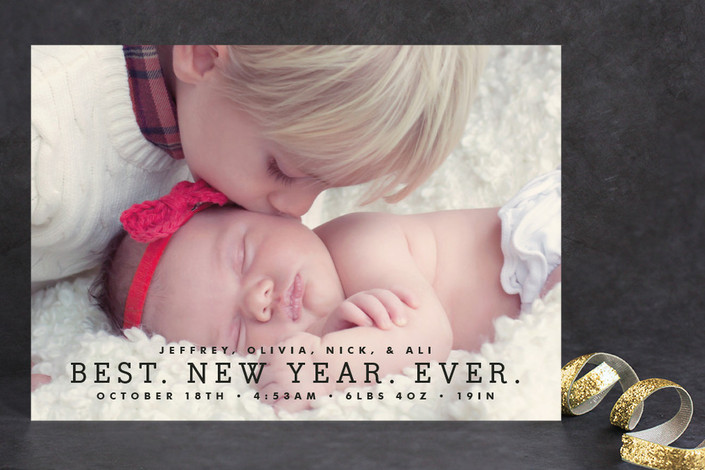 """""""Best Year Ever"""" - Full-Bleed Photo, Modern Holiday Petite Cards in Midnight by Melissa Kelman."""