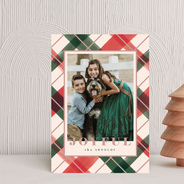 """Joyful Plaid"" - Holiday Petite Cards in Blush by Carrie ONeal."