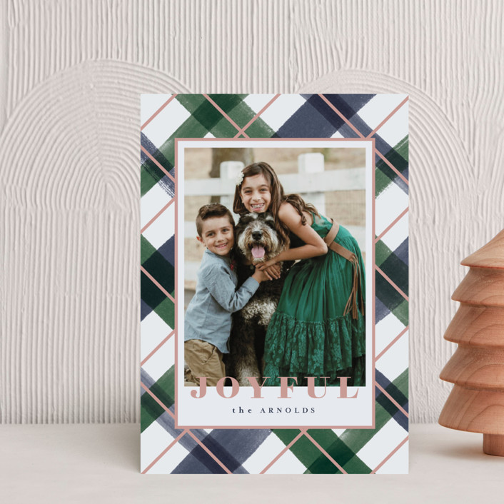 """""""Joyful Plaid"""" - Holiday Petite Cards in Ocean by Carrie ONeal."""
