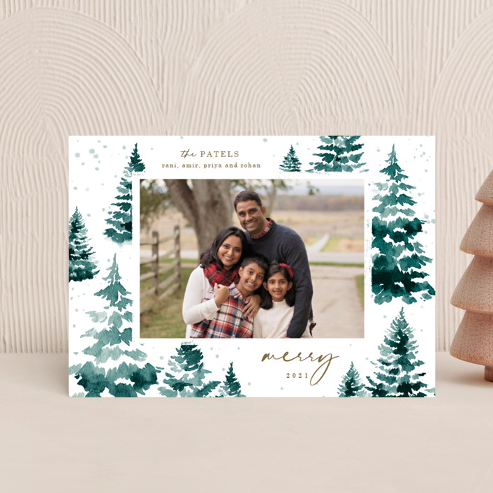 """""""in the snowy woods"""" - Holiday Petite Cards in Blue Spruce by Helen Halik."""