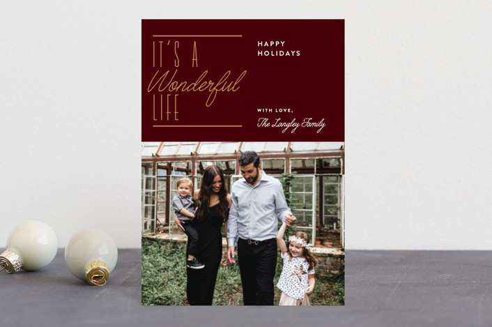 """Wonderful Christmas"" - Holiday Petite Cards in Maroon by Jennifer Lew."