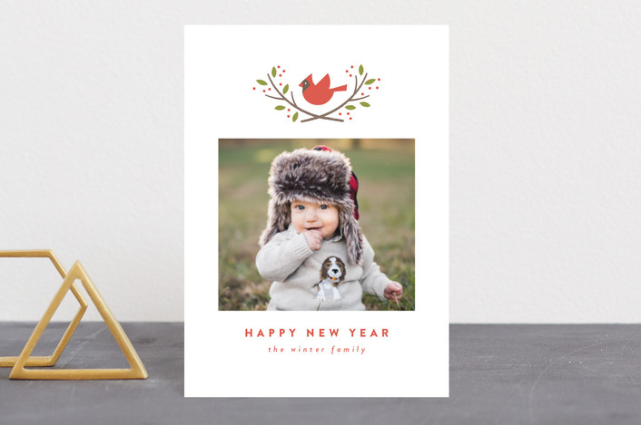 """cardinal crest"" - Holiday Petite Cards in Maple Leaf by Susan Asbill."