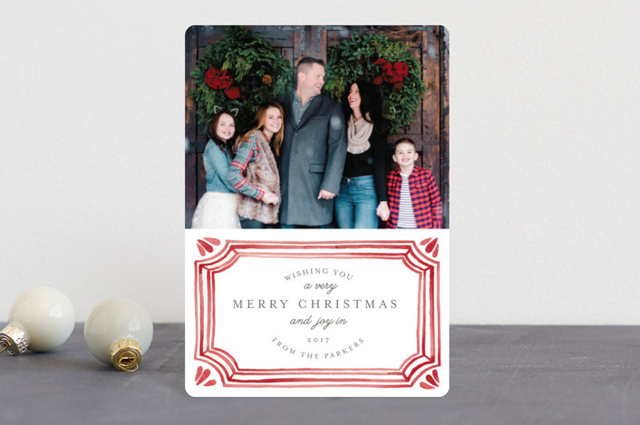 """""""Painted Vintage Frame"""" - Vintage, Bohemian Holiday Petite Cards in Crimson by Katharine Watson."""