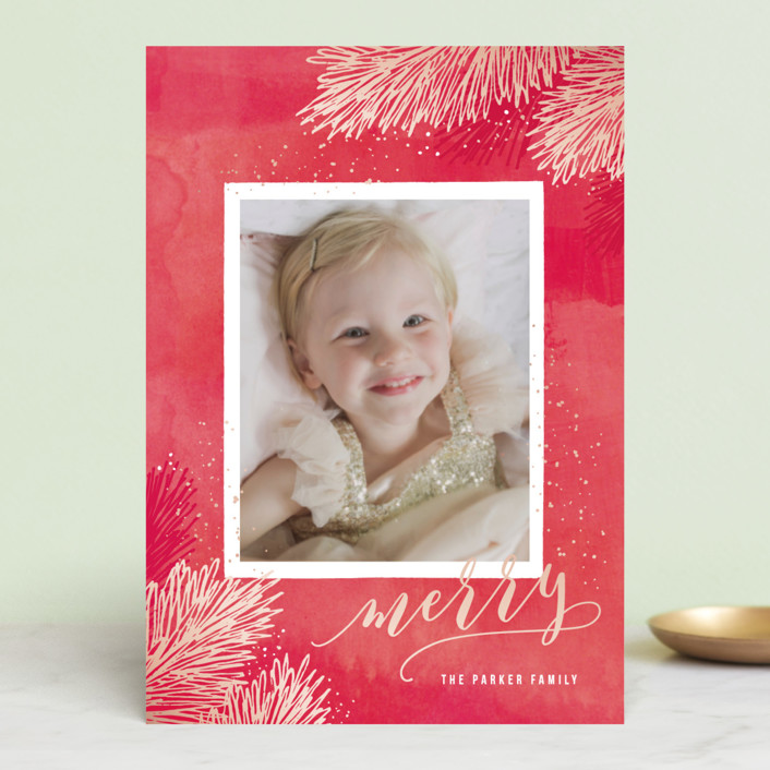 """Metallic Pine Brush"" - Holiday Petite Cards in Berry by Hooray Creative."