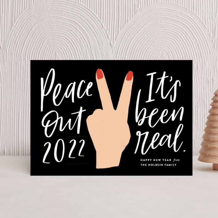 """""""peace out"""" - Modern Holiday Petite Cards in Chalkboard by Frooted Design."""