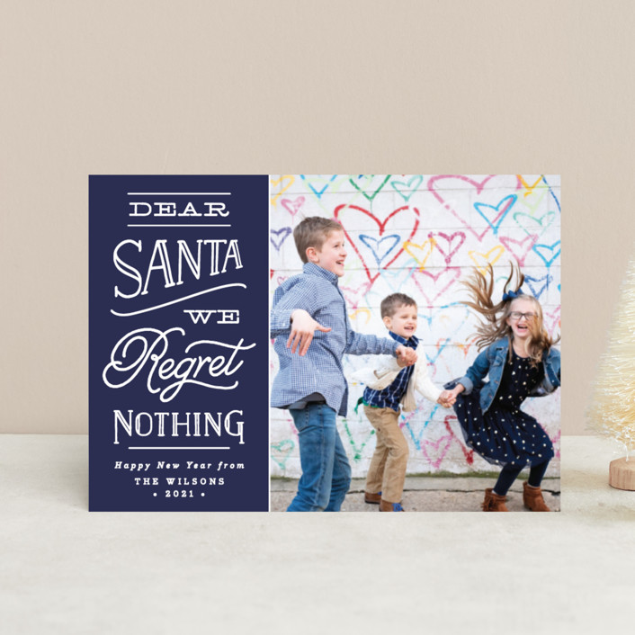 """No Regrets"" - Holiday Petite Cards in Navy by Olivia Raufman."