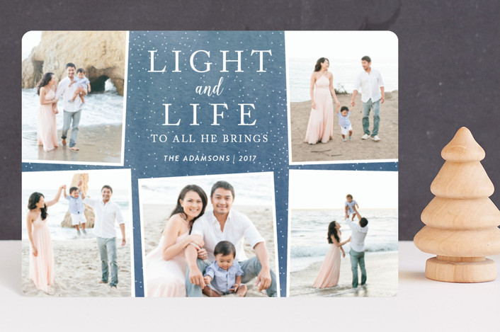 """Light and Life to all He brings"" - Holiday Petite Cards in Ocean by Kate Sorensen."