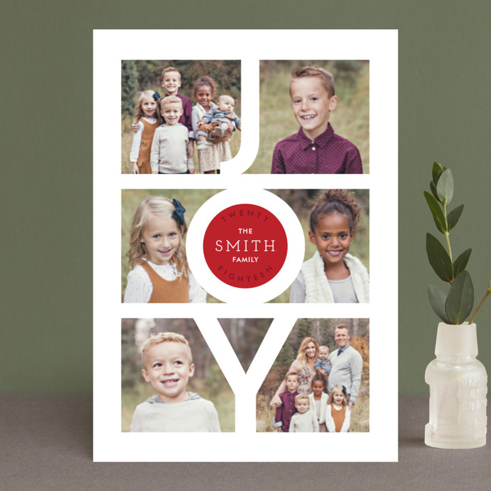 """Modern Family Joy"" - Holiday Petite Cards in Ruby by Playground Prints."