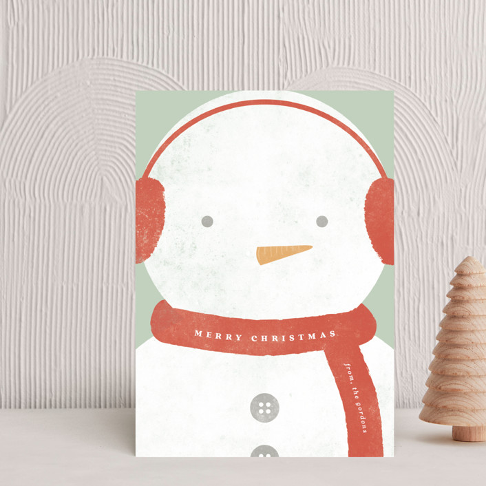 """""""Merry Snowman """" - Bohemian Holiday Petite Cards in Candy Cane by Brianne Larsen."""