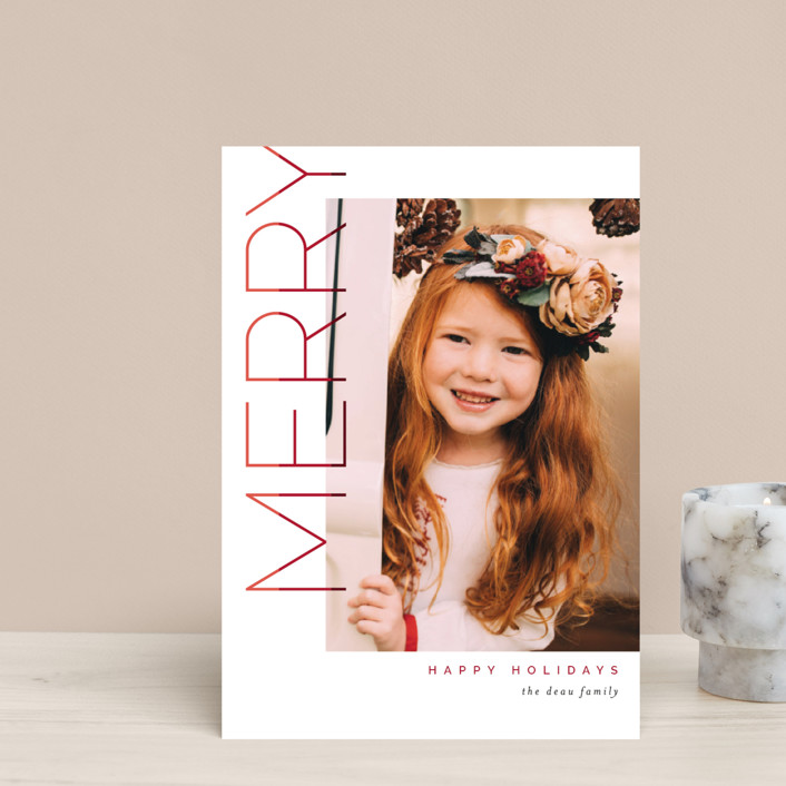 """""""Merry Stacked"""" - Holiday Petite Cards in Cranberry by Pixel and Hank."""