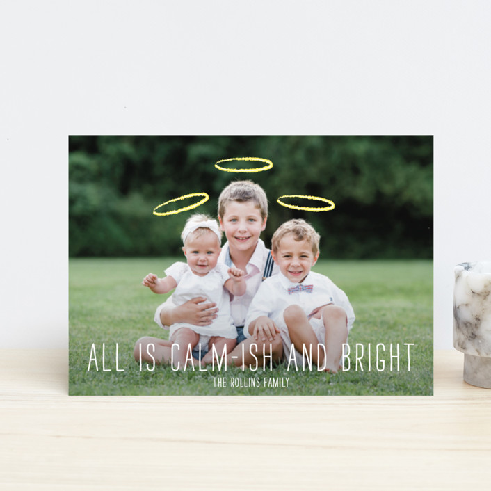"""""""Calm-ish + Bright"""" - Full-Bleed Photo, Funny Holiday Petite Cards in Angel White by Lizzy McGinn."""