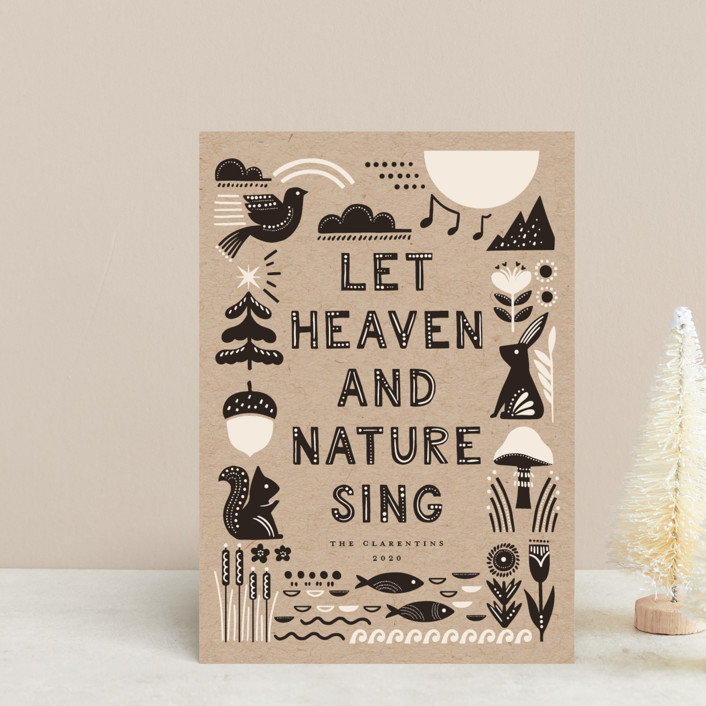 """""""Let Heaven and Nature Sing"""" - Bohemian Holiday Petite Cards in Charcoal by Vivian Yiwing."""