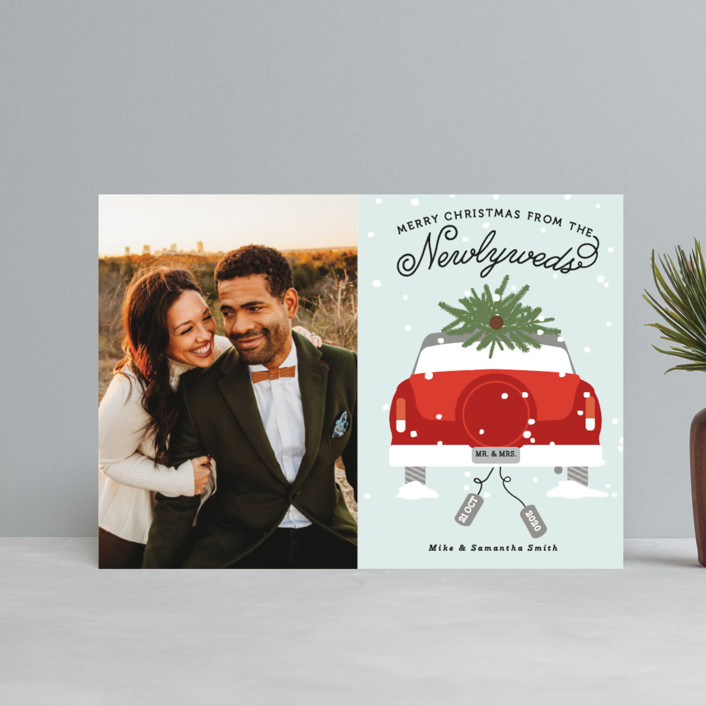"""""""Newlywed Christmas"""" - Holiday Petite Cards in Misteltoe by Bonjour Berry."""