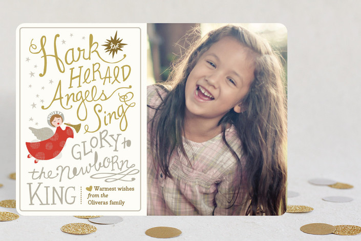 """Angels Sing"" - Elegant, Bold typographic Holiday Petite Cards in Gold by Griffinbell Paper Co.."