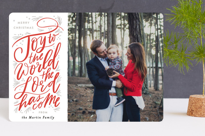 """Joy to the World Pine Swoopt"" - Bohemian Holiday Petite Cards in Crimson by Alethea and Ruth."