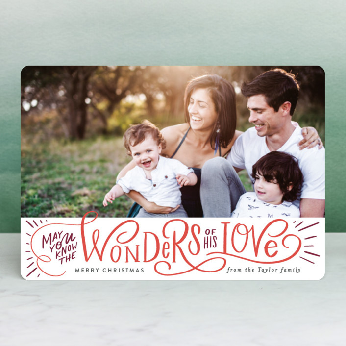 """Wonder of His Love Script"" - Holiday Petite Cards in Pomegranate by Alethea and Ruth."
