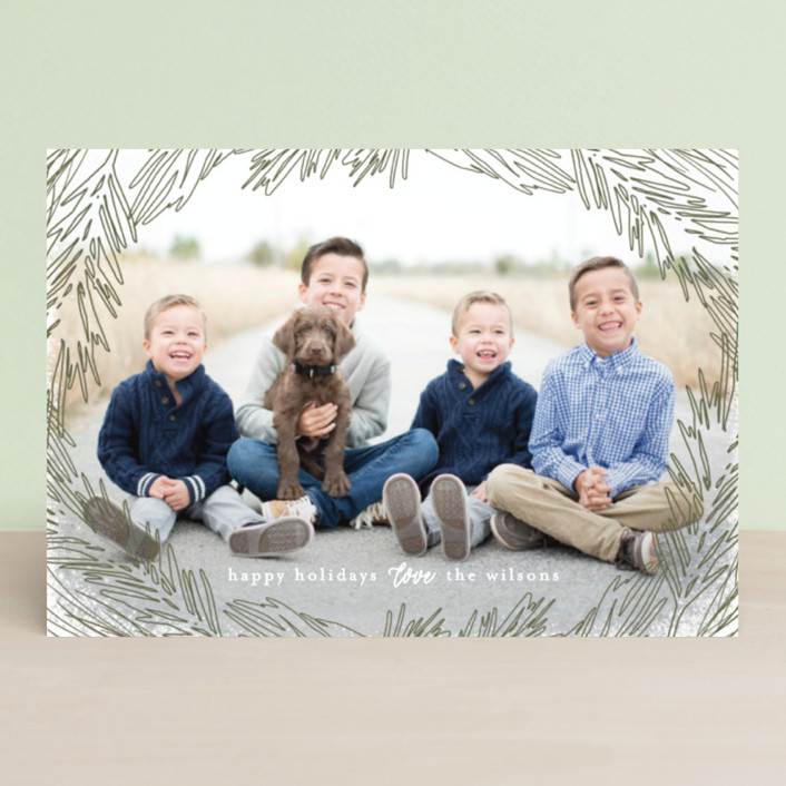 """""""Delicate Branch Border"""" - Holiday Petite Cards in Olive by Melanie Severin."""