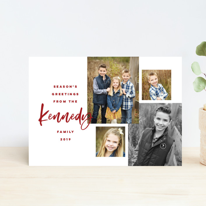 """Our Family Photos"" - Holiday Petite Cards in Candy Cane by Pink House Press."