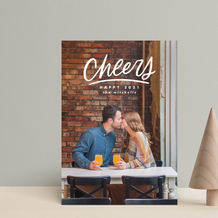 """""""Hand Lettered Cheers"""" - Holiday Petite Cards in Cotton by Ink and Letter."""