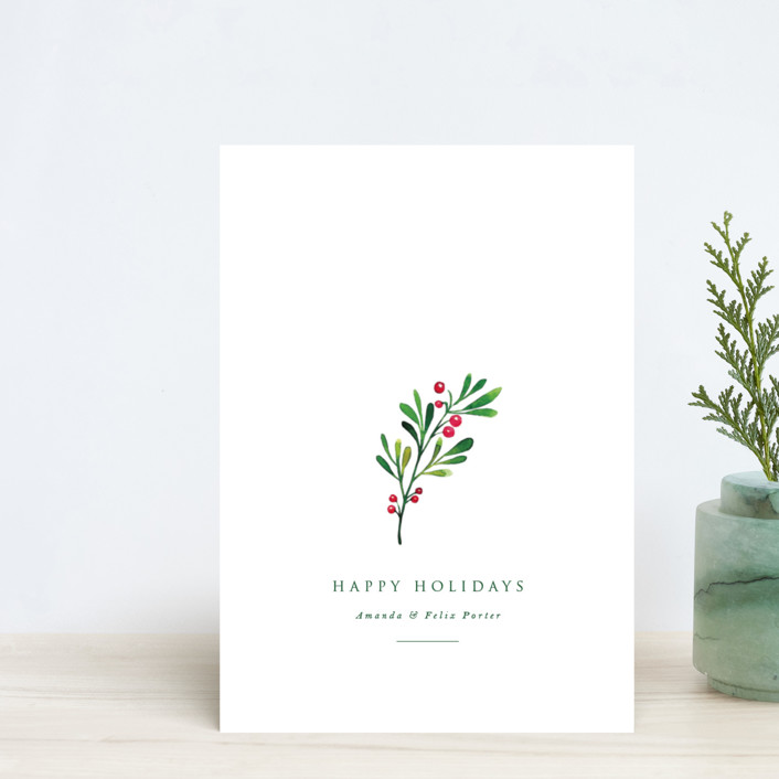 """""""Simple Holly"""" - Holiday Petite Cards in Snow by Nicole Walsh."""