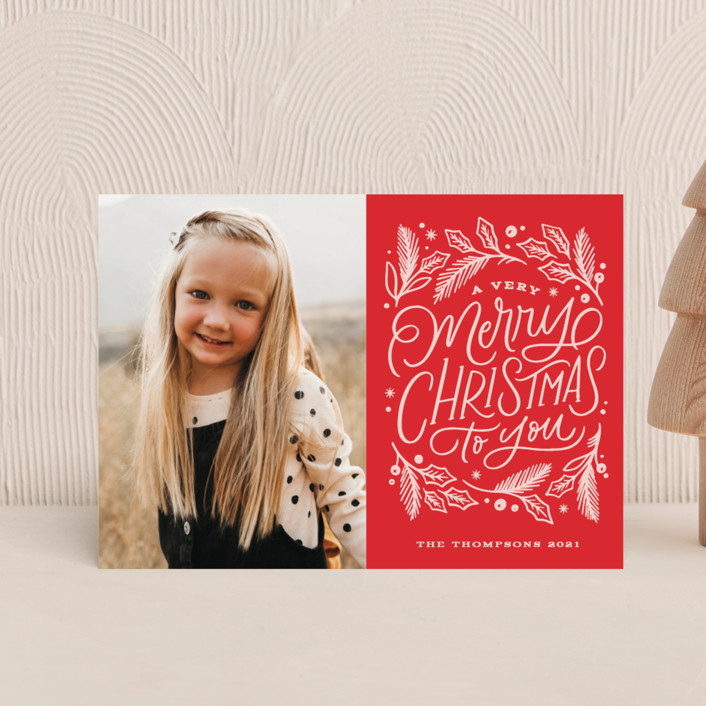 """""""Very Merry Christmas To You"""" - Bohemian Holiday Petite Cards in Cranberry by Kristen Smith."""