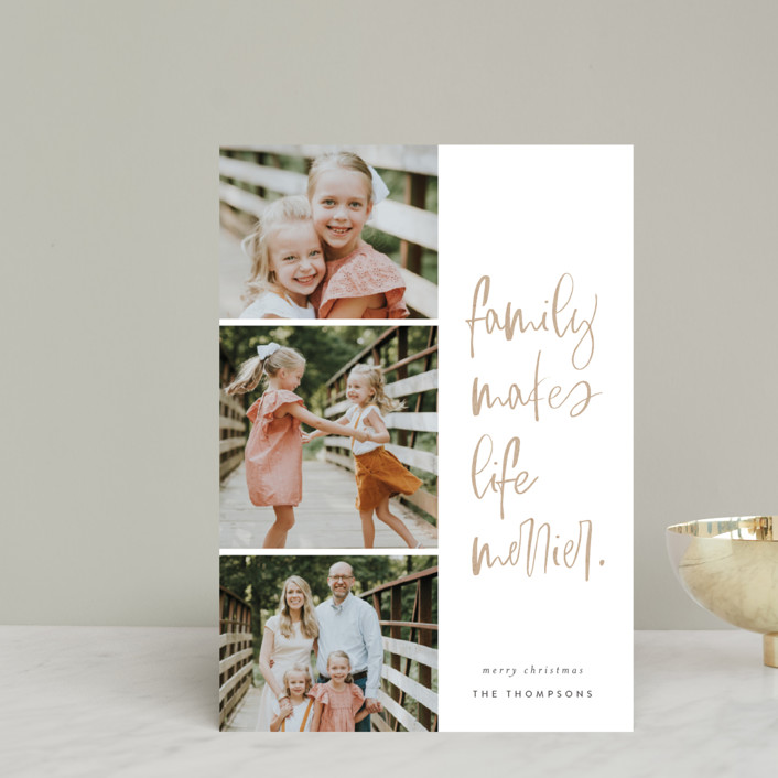 """""""Merry Life"""" - Modern Holiday Petite Cards in Kraft by Carrie ONeal."""