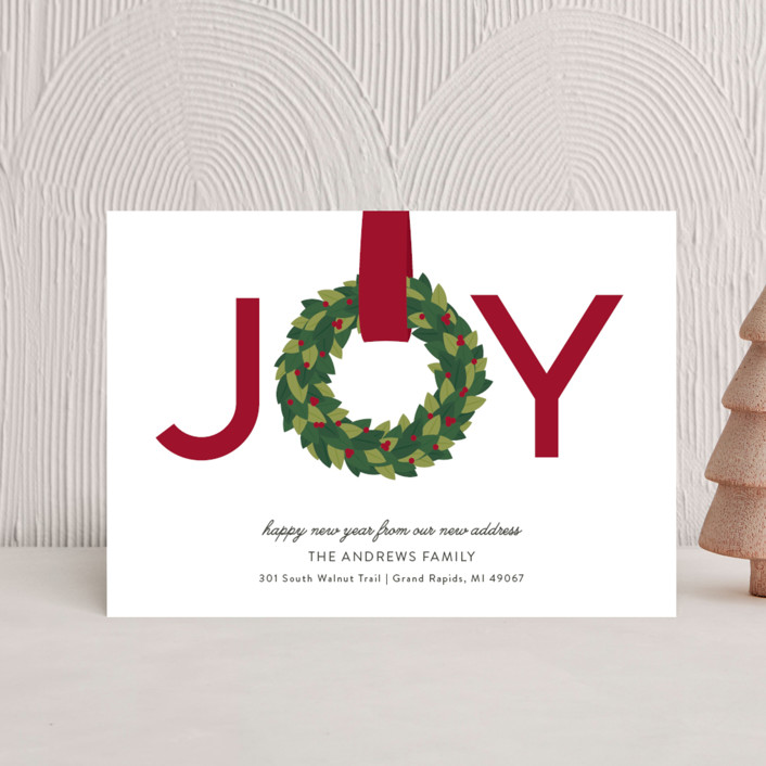 """Joy Wreath"" - Holiday Petite Cards in Cranberry by Sarah Brown."