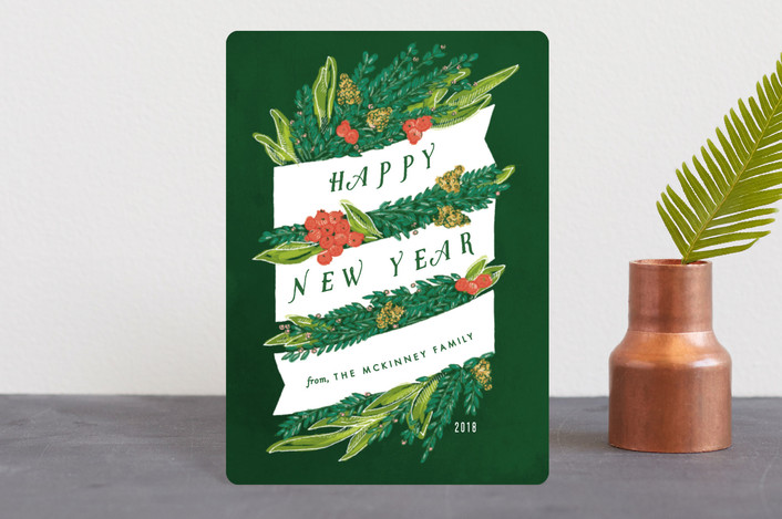 """Sketched Banner and Greenery"" - Holiday Petite Cards in Emerald by Shiny Penny Studio."