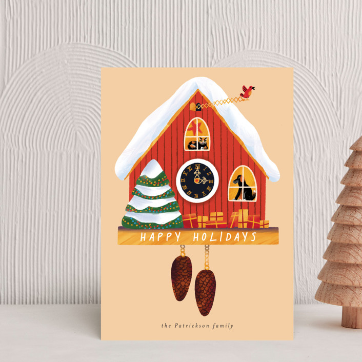 """""""Holiday cuckoo clock"""" - Vintage Holiday Petite Cards in Cream by Alexandra Dzh."""