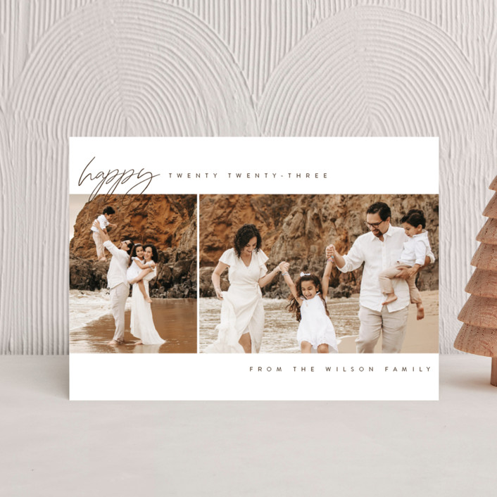 """""""happy year"""" - Holiday Petite Cards in Snow by Kasia Labocki."""