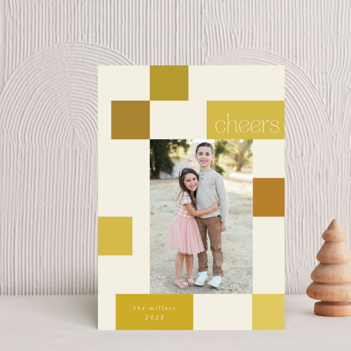 """""""Checkerboard"""" - Modern Holiday Petite Cards in Sunshine by Morgan Kendall."""