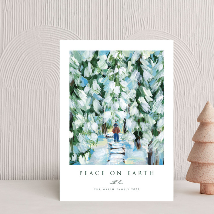 """Peaceful Winter Walk"" - Holiday Petite Cards in Snow by Nicole Walsh."