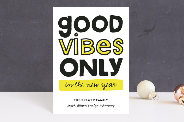 """Good Vibes Only"" - Modern, Funny Holiday Petite Cards in Citrine by Pistols."