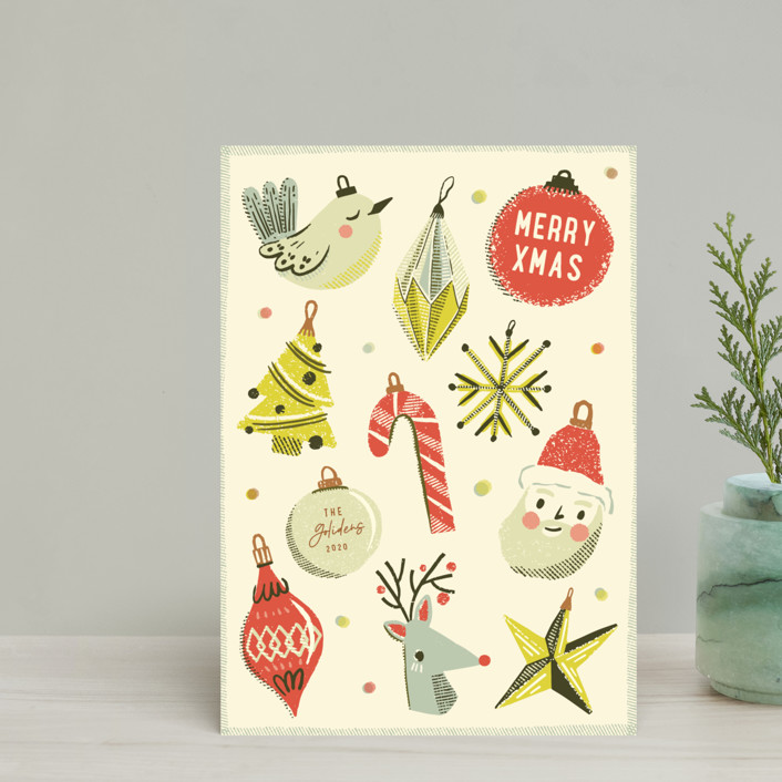 """Retro Ornaments"" - Vintage Holiday Petite Cards in Berry by Vivian Yiwing."