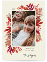 This is a red petite holiday card by Kimberly Morgan called Crimson Holiday with standard printing on smooth signature in petite.