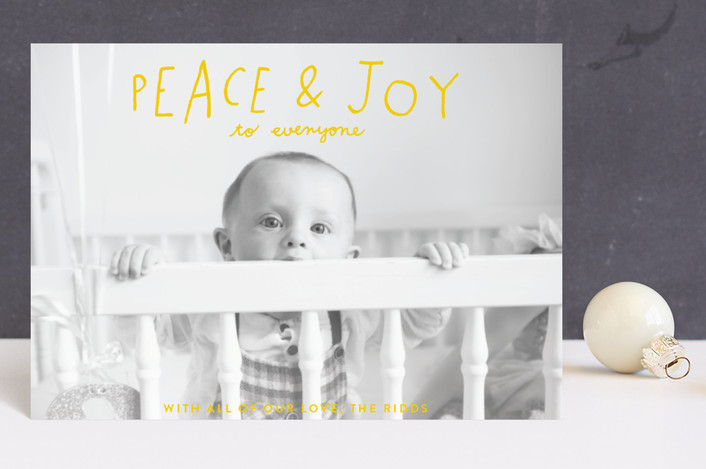 """Hand Lettered Peace and Joy"" - Holiday Petite Cards in Canary by Allison Cornu."