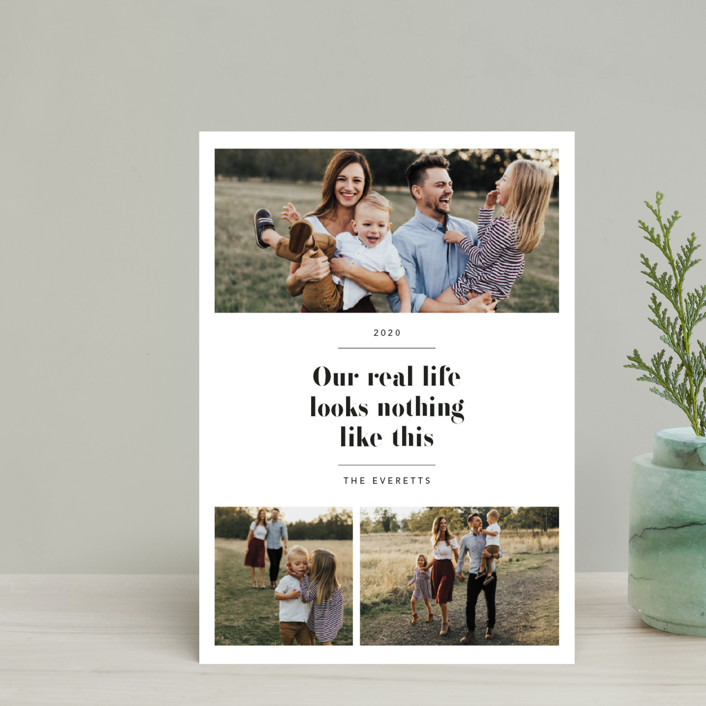 """""""Real Life."""" - Holiday Petite Cards in Coal by Hudson Meet Rose."""