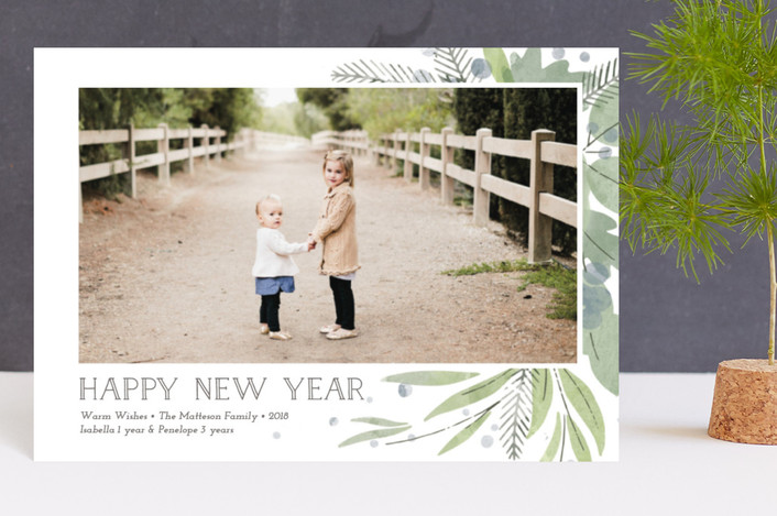 """""""Watercolor Greenery"""" - Holiday Petite Cards in Trellis by Lorent and Leif."""