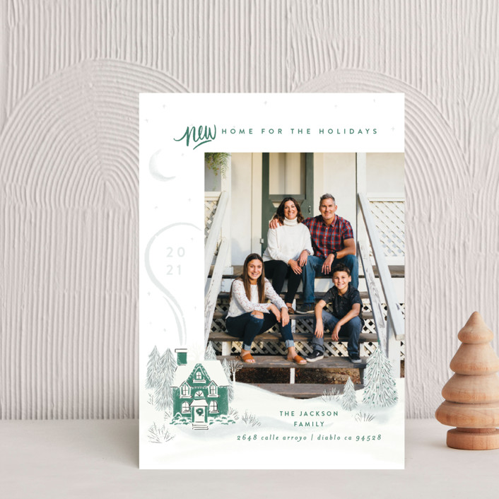 """""""Vintage Cozy Home"""" - Bohemian Holiday Petite Cards in Pine by Shiny Penny Studio."""