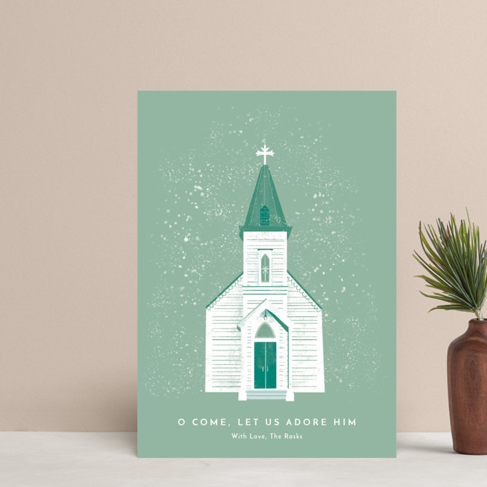 """""""O Come Let Us Adore Him"""" - Holiday Petite Cards in Pine by Laura Mitchell."""