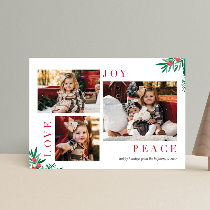 """""""Magazine Collage"""" - Holiday Petite Cards in Pomegranate by Petra Kern."""