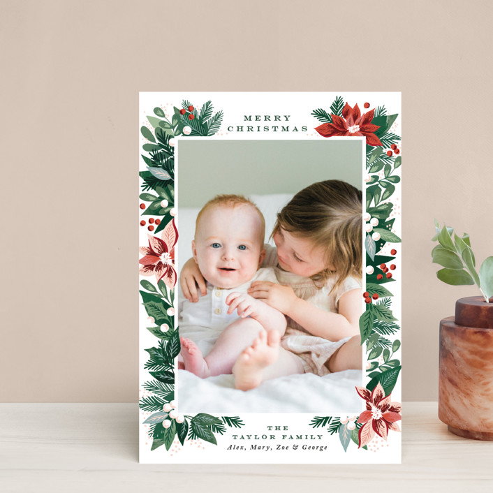 """""""Poinsettia Pine Frame"""" - Holiday Petite Cards in Evergreen by Alethea and Ruth."""